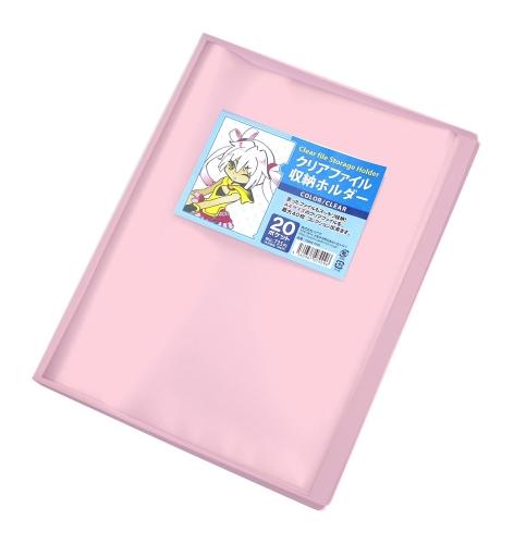 【お得セット】クリアファイル収納ホルダー クリアピンク 5個セット 漫画